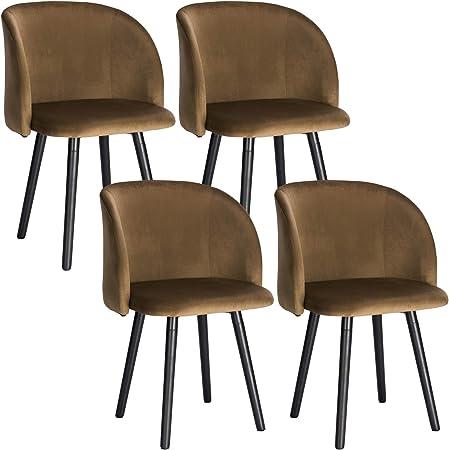WOLTU 4X Sillas de Comedor Nordicas Estilo Vintage Dining Chairs Juego de 4 Sillas de Cocina Tulip Sillas Tapizadas en Terciopelo Silla de Conferencia Silla de ...