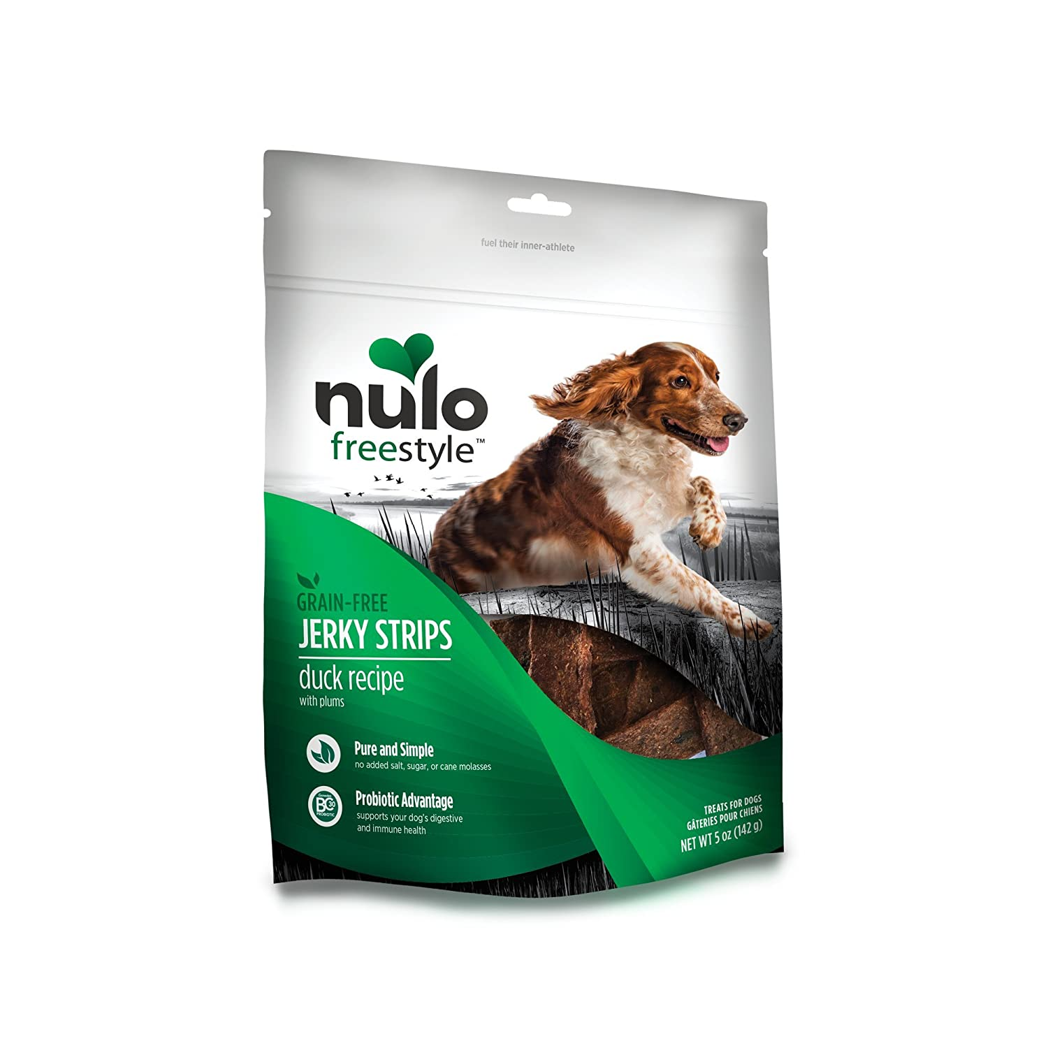 Nulo Puppy & Adult Freestyle Jerky Dog Strips  Natural Healthy Real Meat Grain Free Dog Treats for Training Or Reward (Duck with Plums Recipe 5 Oz Bag)