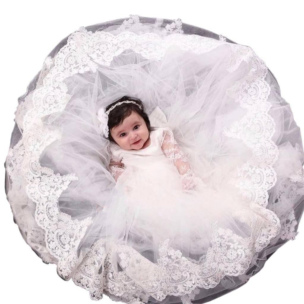 Pretydress Baby Girls Princess Dress Christening Baptism Party Formal Dress (Ivory, 0-3 Months) by Pretydress