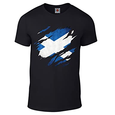 d4a3cdcabccf Reality Glitch Men's Torn Scotland T-Shirt: Amazon.co.uk: Clothing