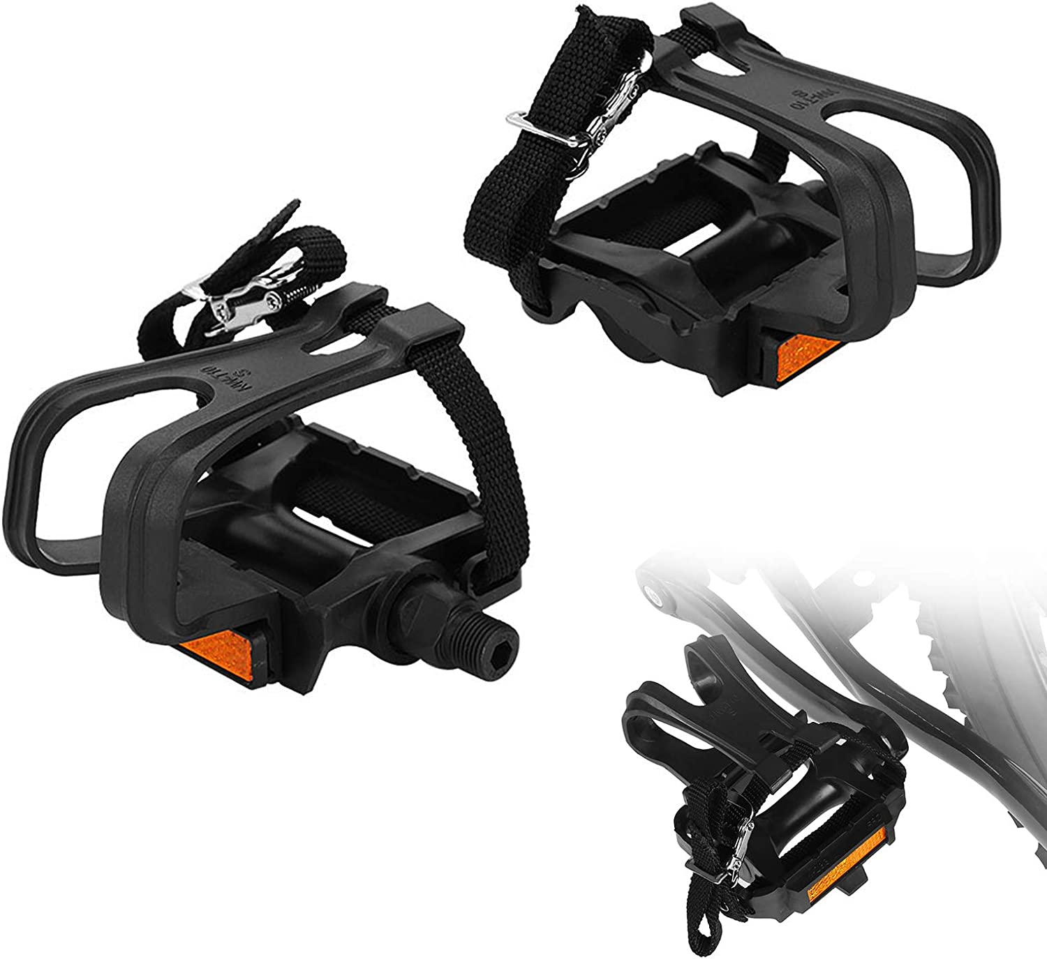 Bicycle Pedal Adopts Lightweight Hollow-out Design Mountain Bike Pedals with Toe Clips and Straps Design 1 Pair Road Bike Pedals Yosoo Health Gear Toe Cages for Peloton Bike