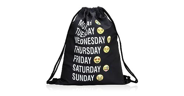 a3d974e1ce Bagerly Gym Sack Bag Drawstring Backpack Sport Bag Travel Backpack Sackpack  (Smile Faces) (Black) (Black)