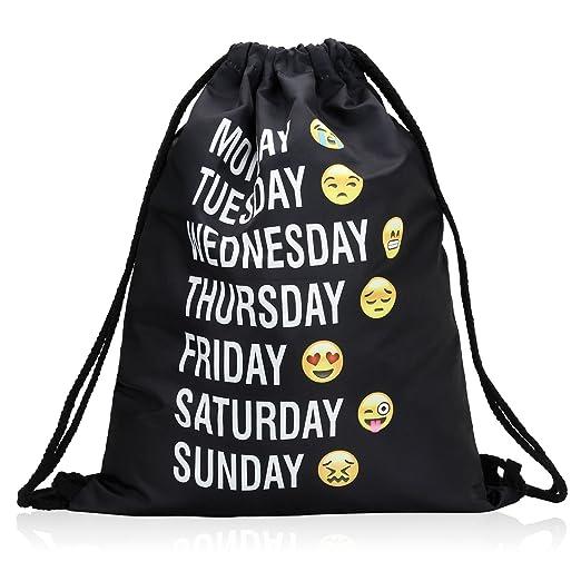 51231fe91d Bagerly Gym Sack Bag Drawstring Backpack Sport Bag Travel Backpack Sackpack  (Smile Faces) (