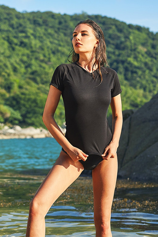 Vegatos Women Swim Shirt Short Sleeve UV Protection Rash Guard Swimsuit Top M by Vegatos (Image #2)