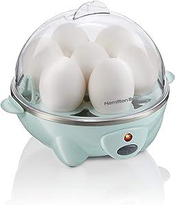Hamilton Beach 3-in-1 Electric Hard Boiled Egg Cooker, Poacher & Omelet Maker, Holds 7, Mint (25504)
