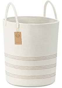 Large Cotton Woven Rope Basket with Handles, Decor Blankets Laundry Basket, Tall Storage Baskets for Organizing Toys Towels Pillow Clothes in Living Room(Off White/Burgundy)