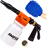 SwiftJet Car Wash Foam Gun Sprayer with Thick Suds - Adjustable Water Pressure & Soap Ratio Dial - Foam Cannon Attaches to An