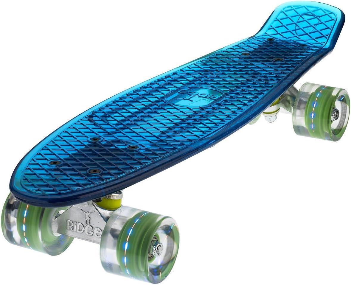 Ridge Skateboards Blaze Mini Cruiser Skateboard-Transparent Blue Deck/Red LED, 22-Inch / UK