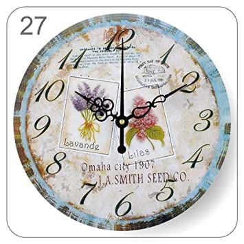 YUNOLL Relojes De Pared Reloj País Retro Reloj De Pared Mediterráneo Pastoral Salón Dormitorio Pared Reloj Decoración Simple Mute Reloj De Pared Flor 12 ...