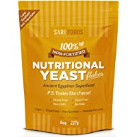 Pure Natural Non-Fortified Nutritional Yeast Flakes (8 oz.) Whole Food Based Protein...