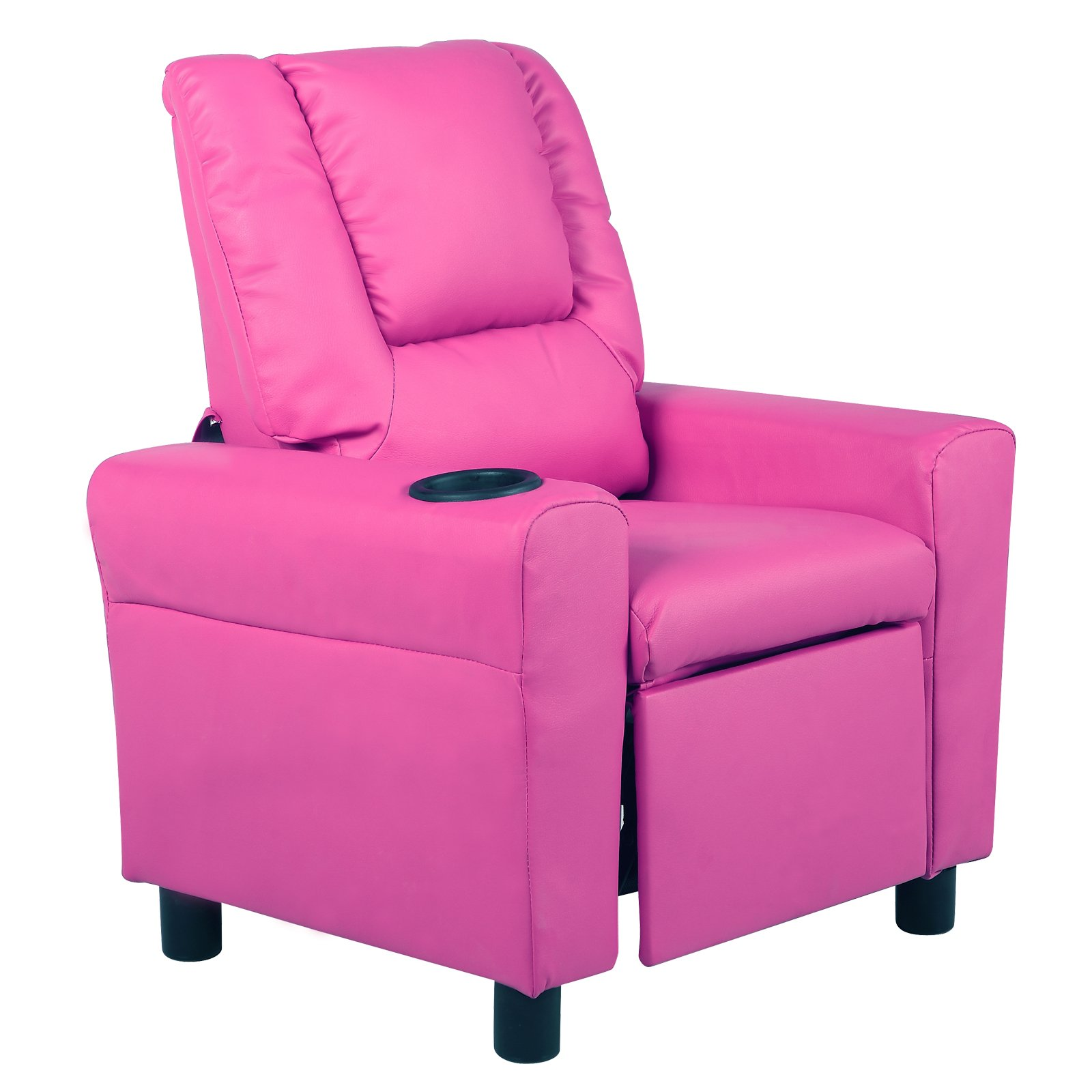 Mecor Kids Recliner with Cup Holder/Headrest Leather Sofa for Children Living Room Furniture (Pink)