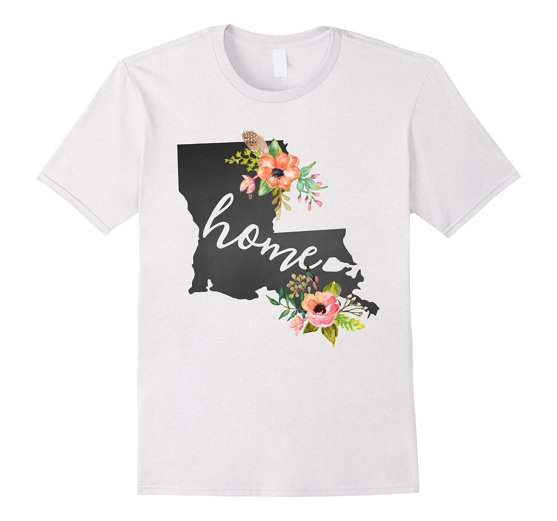 Louisiana Home Chalkboard Watercolor Flowers State T Shirt RT – Rateeshirt