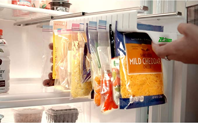 Amazon.com: Zip n Store - Organize Your Refrigerator - Full-Size Easy Store Organizer - Organizes 20 Bags, Perfect For Leftovers, Easy To See + Access Food, Quick Access Slide Track, Installs In 2 Minutes: Kitchen & Dining