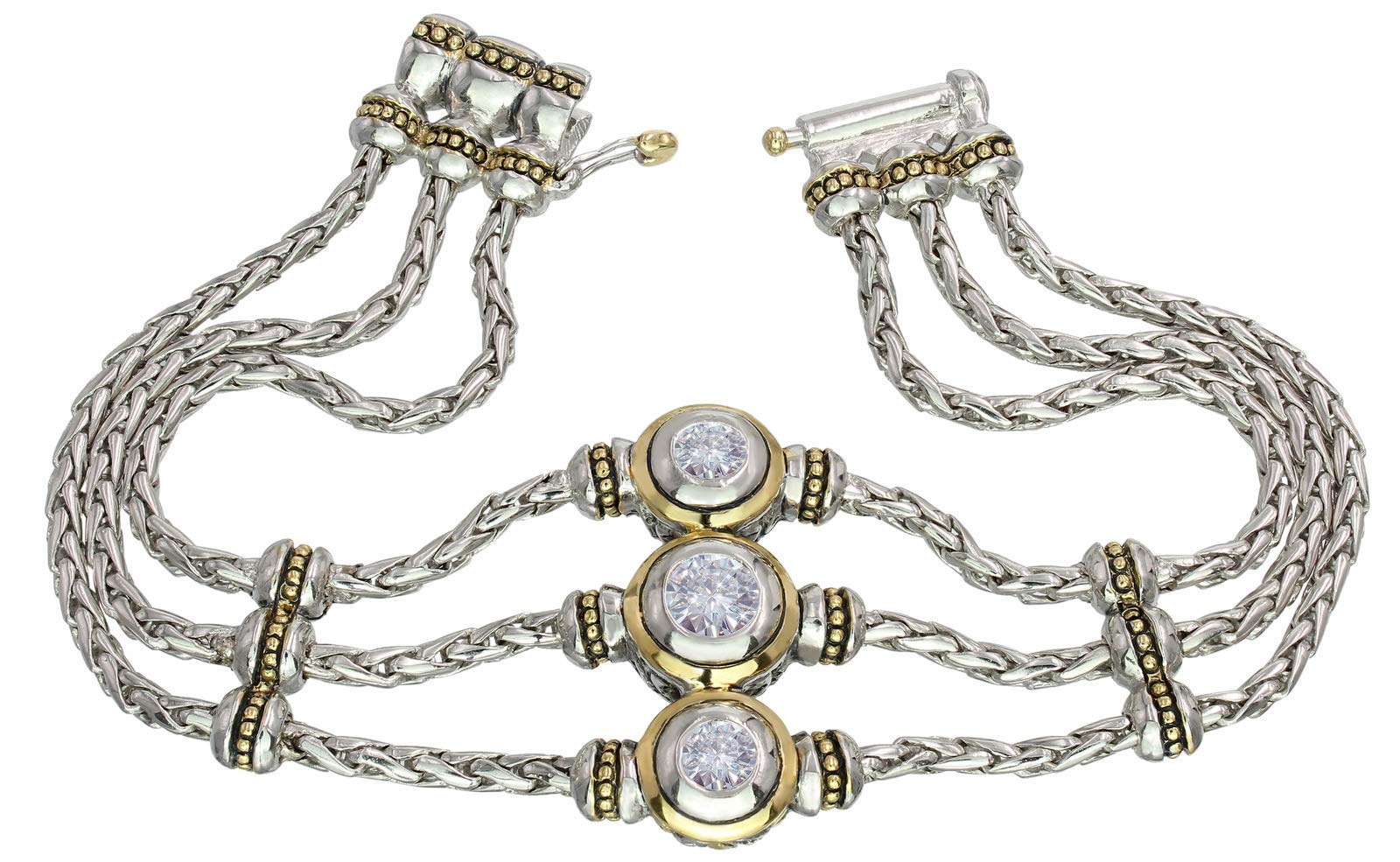 John Medeiros Silver and Gold Tone 3 Strand Bracelet with 3 Round Clear Cubic Zirconia Fancy Clasp Aprils Birthstone and Part of The Beijos Collection 7'' Made in America