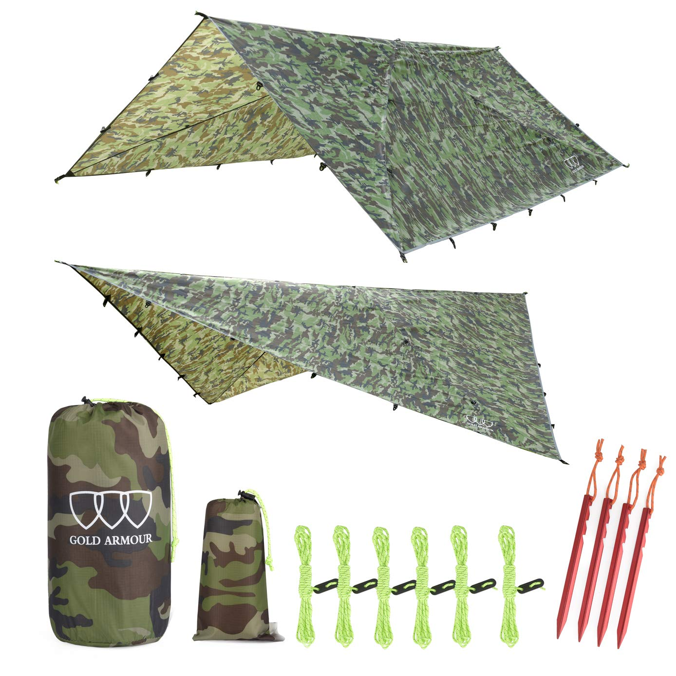 12ft Extra Large Tarp Hammock Waterproof Rain Fly Tarp 185in Centerline - Lightweight Ripstop Fabric - Stakes Included - Survival Gear Backpacking Camping Accessories - Multiple Colors (Camouflage) by Gold Armour