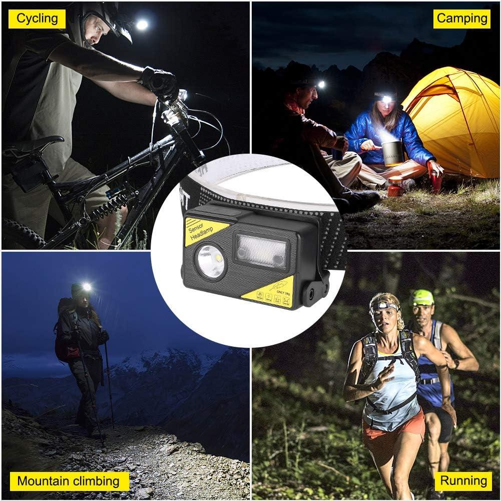 Guiseapue Lampada Frontale,Lampada da Testa USB Ricaricabile,Torcia Frontale con 5 modalit/à,Luce bianca e blu,Luce di Testa IPX5 Impermeabile,per Bambini,Running Campeggio Pesca Trekking