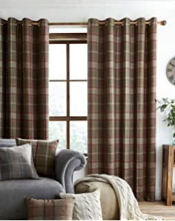Highland Faux Wool Effect Lined Ring Top Curtains (Pair)   Green/Red