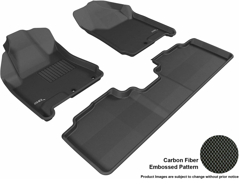 3D MAXpider Complete Set Custom Fit All-Weather Floor Mat for Select Cadillac SRX Models - Kagu Rubber (Black)