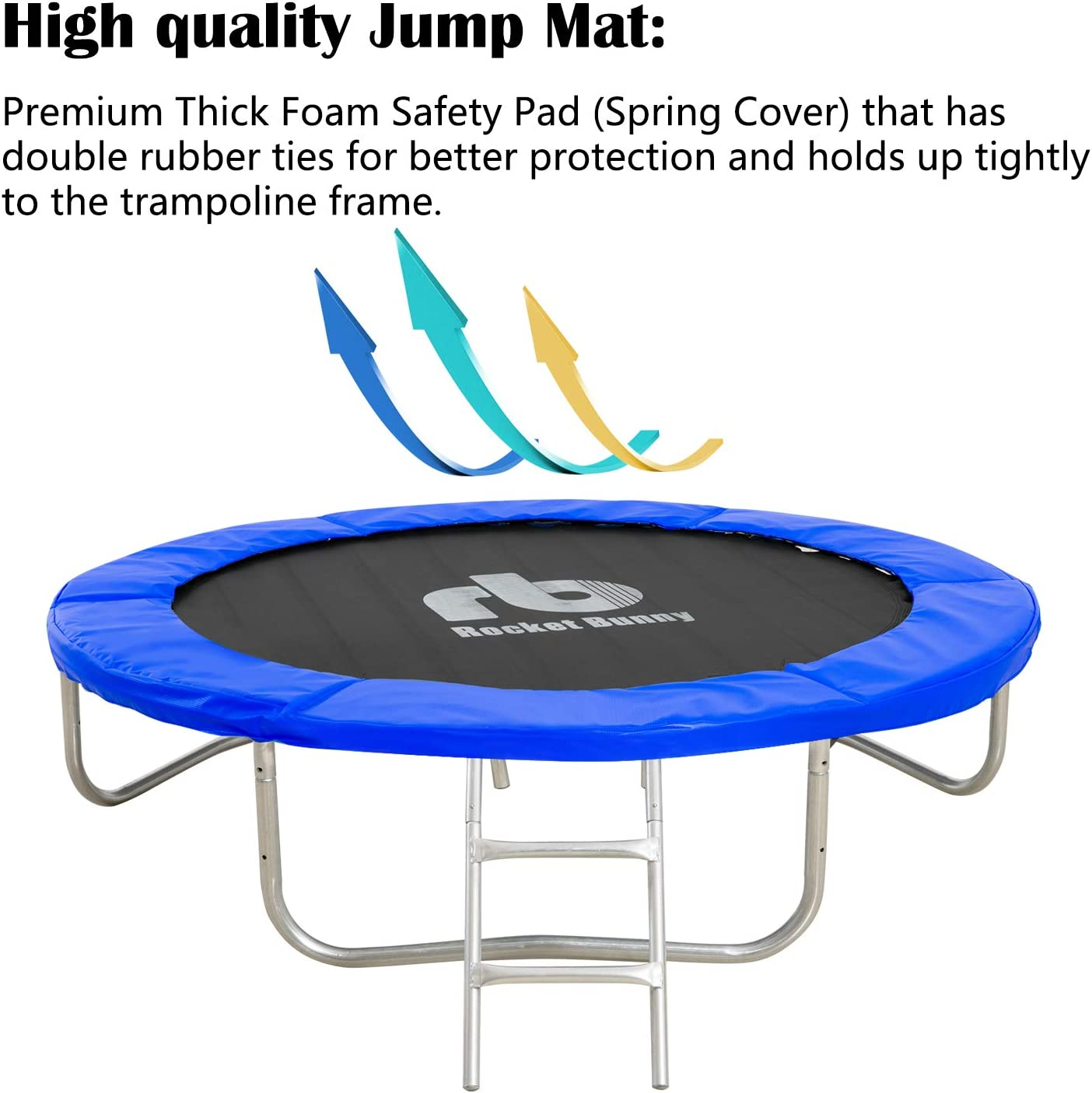 SEAPHY Rocket Bunny Trampoline with Safety Enclosure Netting and Ladder Jumping Mat 8ft