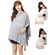 Gray Nursing Cover Poncho for Breastfeeding Nursing Shawl Cover Ups Maternity Pregnancy Poncho Adjustable Buttons Breathable Bamboo Perfect Gift Idea