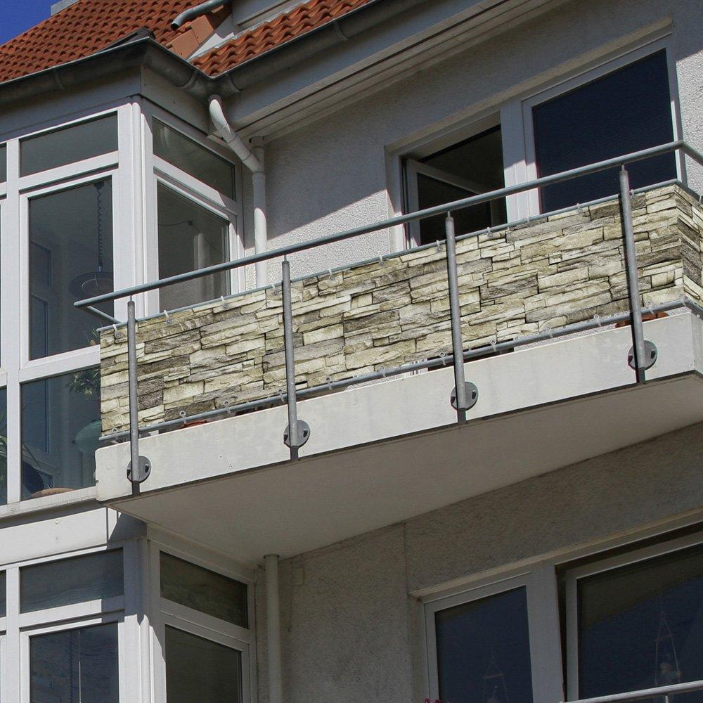 Balkonbespannung Sichtschutz 300 x 90 cm Steine Motiv