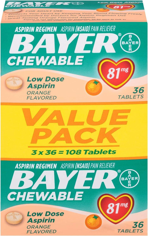Aspirin Regimen Bayer 81mg Chewable Tablets | #1 Doctor Recommended Aspirin Brand | Pain Reliever | Orange Flavor |108 Count