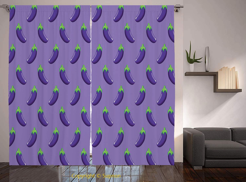 Living Room Bedroom Window Drapes/Rod Pocket Curtain Panel Satin Curtains/2 Curtain Panels/108 x 95 Inch/Eggplant,Appetizing Eggplants in Order Symmetrical Vegan Foods Healthy Fresh Ingredients Decora