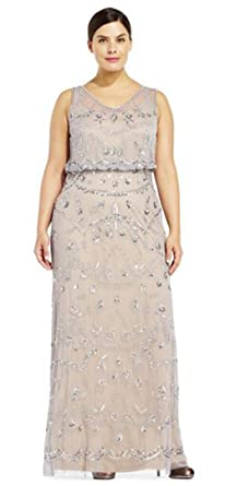 fa79a1da Image Unavailable. Image not available for. Color: Adrianna Papell  Sleeveless Beaded Blouson Gown Illusion, Silver ...