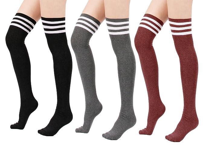 LSHARON - Calcetines hasta la rodilla - para mujer gris Black/Grey/Red Medium: Amazon.es: Ropa y accesorios
