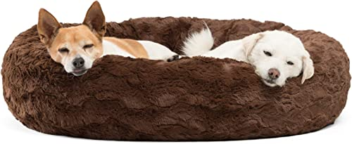 Best Friends by Sheri Lux Fur Donut Cuddler Multiple Sizes Round Donut Cat and Dog Cushion Bed, Orthopedic Relief, Self-Warming and Cozy for Improved Sleep – Prime, Machine Washable, Water-Resistant Bottom