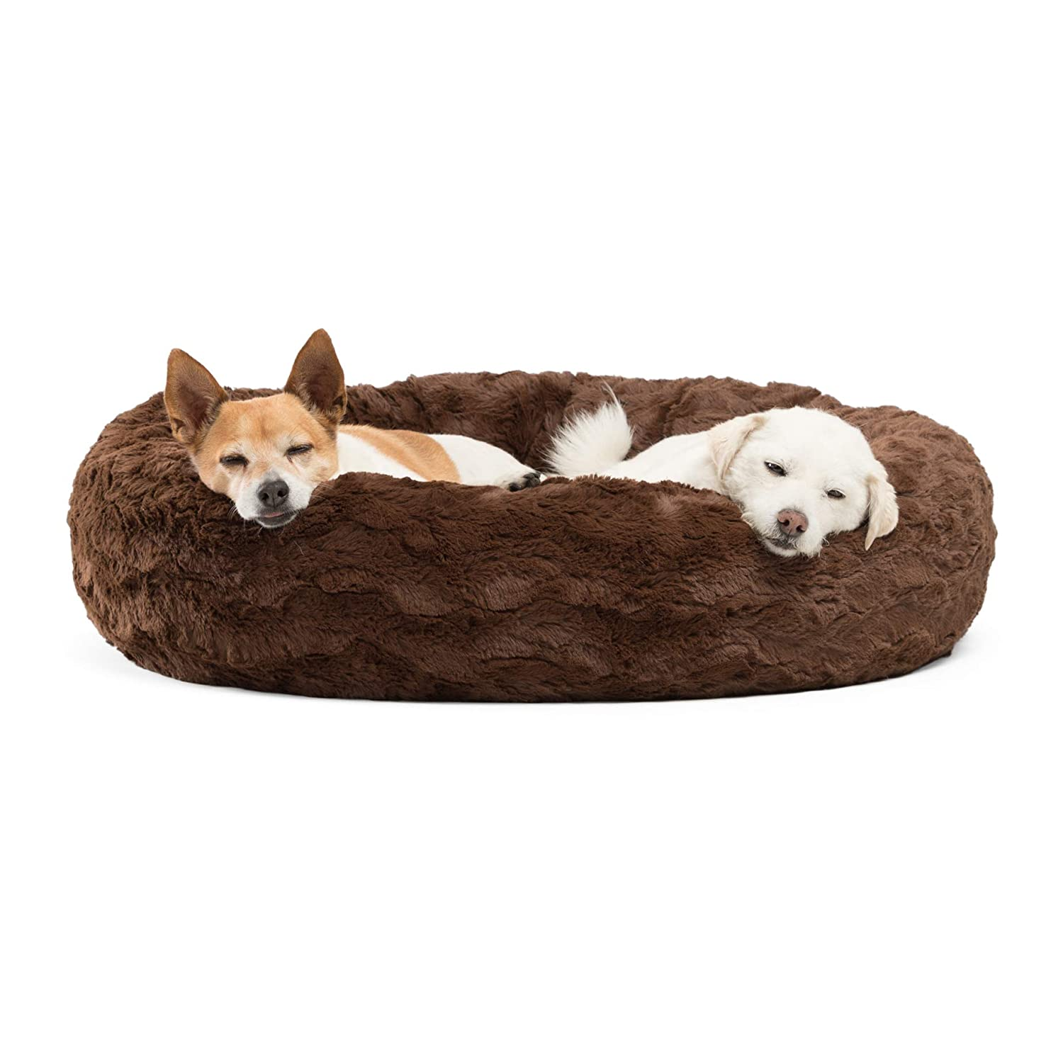 Best Friends by Sheri Luxury Faux Fur Donut Cuddler (30x30 ), Dark Chocolate Small Round Donut Cat and Dog Cushion Bed, Orthopedic Relief