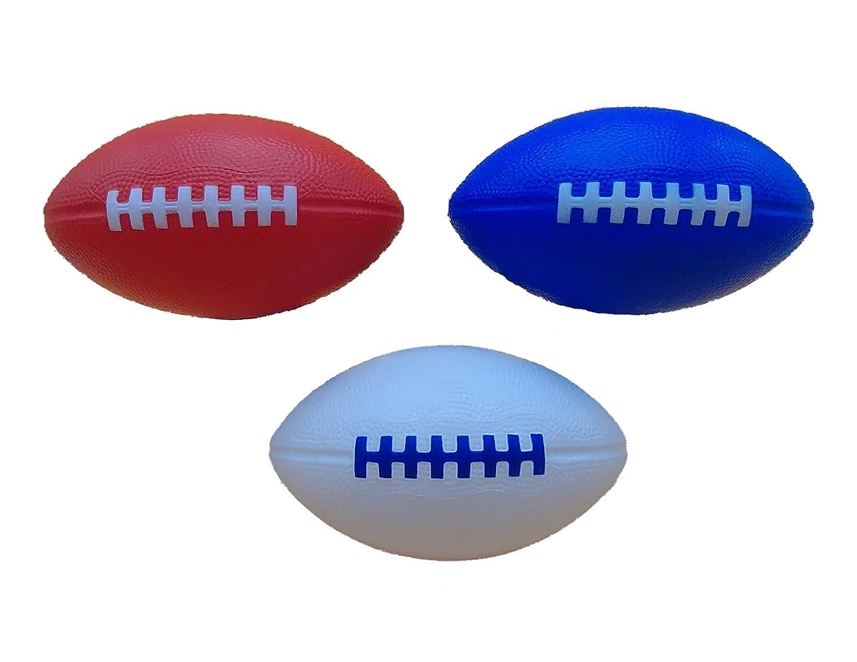 LMC Products フォームフットボールスポーツトイ – 7.25インチ 握りやすいソフトフットボール – 3パックで販売 1-赤, 1-白い, 1-青