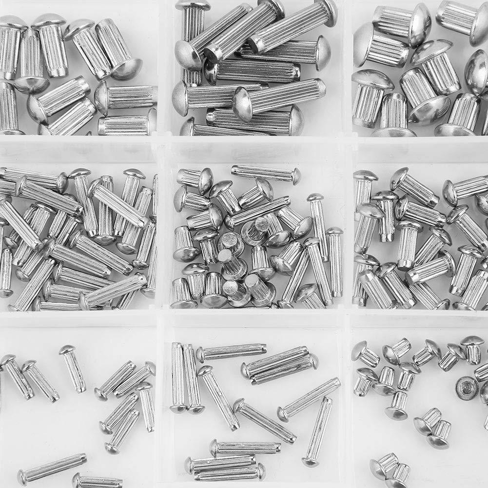250pcs M2-M5 Stainless Steel Round Head Knurled Shank Solid Rivets Assortment Set Knurled Nut Embedded Knurled Nut