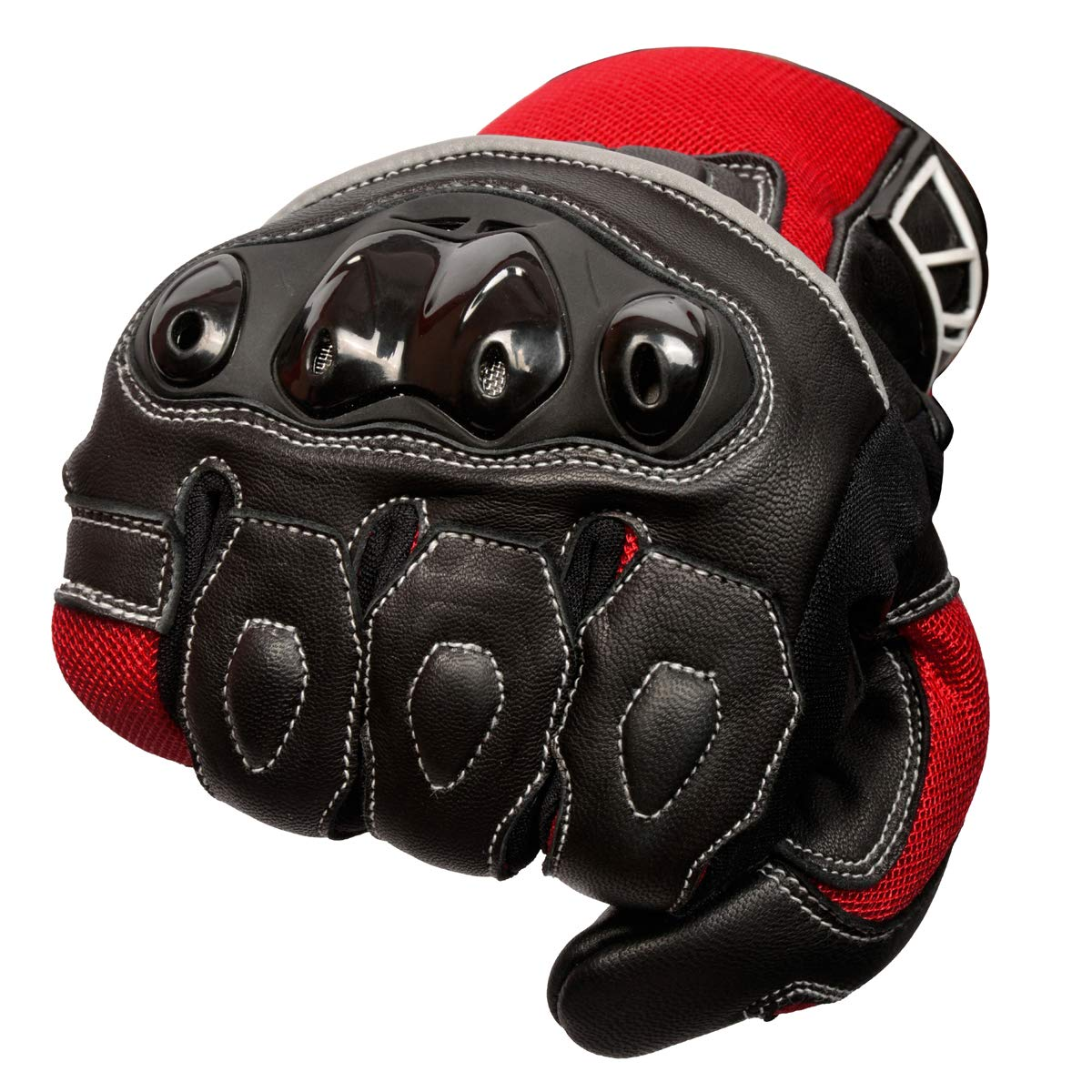 Oro Biker Motorbike Motorcycle Gloves Premium Leather and Summer Mesh Hard Knuckle Touch Screen Motorbike Gloves Racing ATV Riding Gloves for Men Large, Full Black