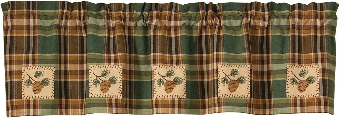 Park Designs Pinecone Patch Lined Valance, 60 x 14
