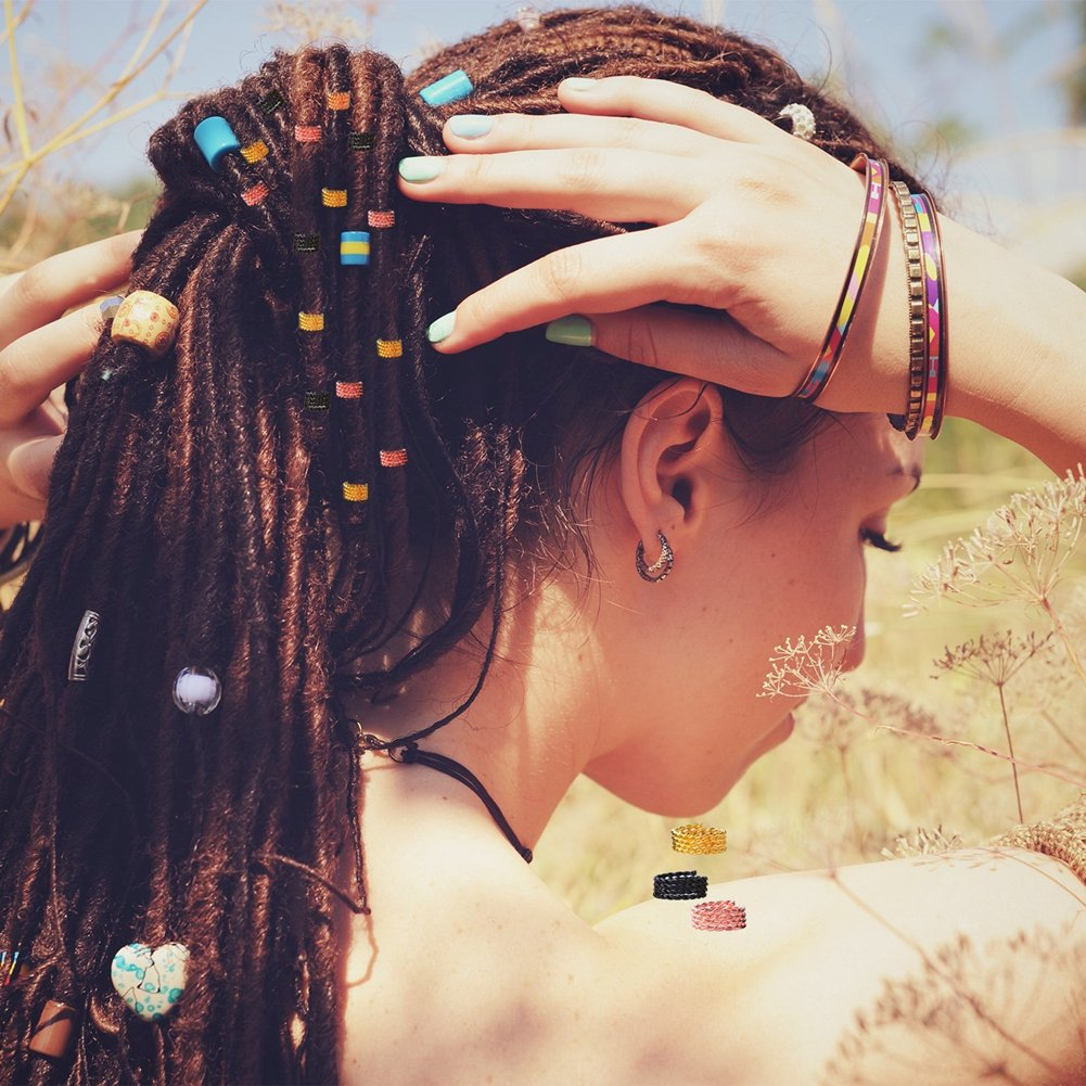 SEALEN Metal Hair Cuffs Hair Braiding Beads,Aluminum Hair Coil Dreadlocks, Hair RingsHoops Decoration Accessories Rose Gold Silver Multiple Styles 130 PCS
