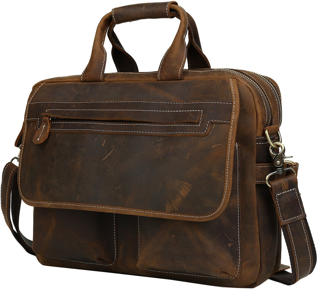 Iswee Leather Vintage Style Messenger Bag Portfolio Briefcase 14'' or 16'' or 17'' Laptop Case for Men Attache Case (Large Dark Brown)