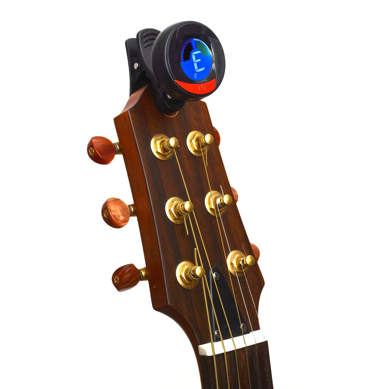 Elagon afinador (LT-21) Afinador multi-instrumento con agarre tipo clip para varios instrumentos: Guitarra eléctrica y acústica, bajo, ukelele, violín, ...