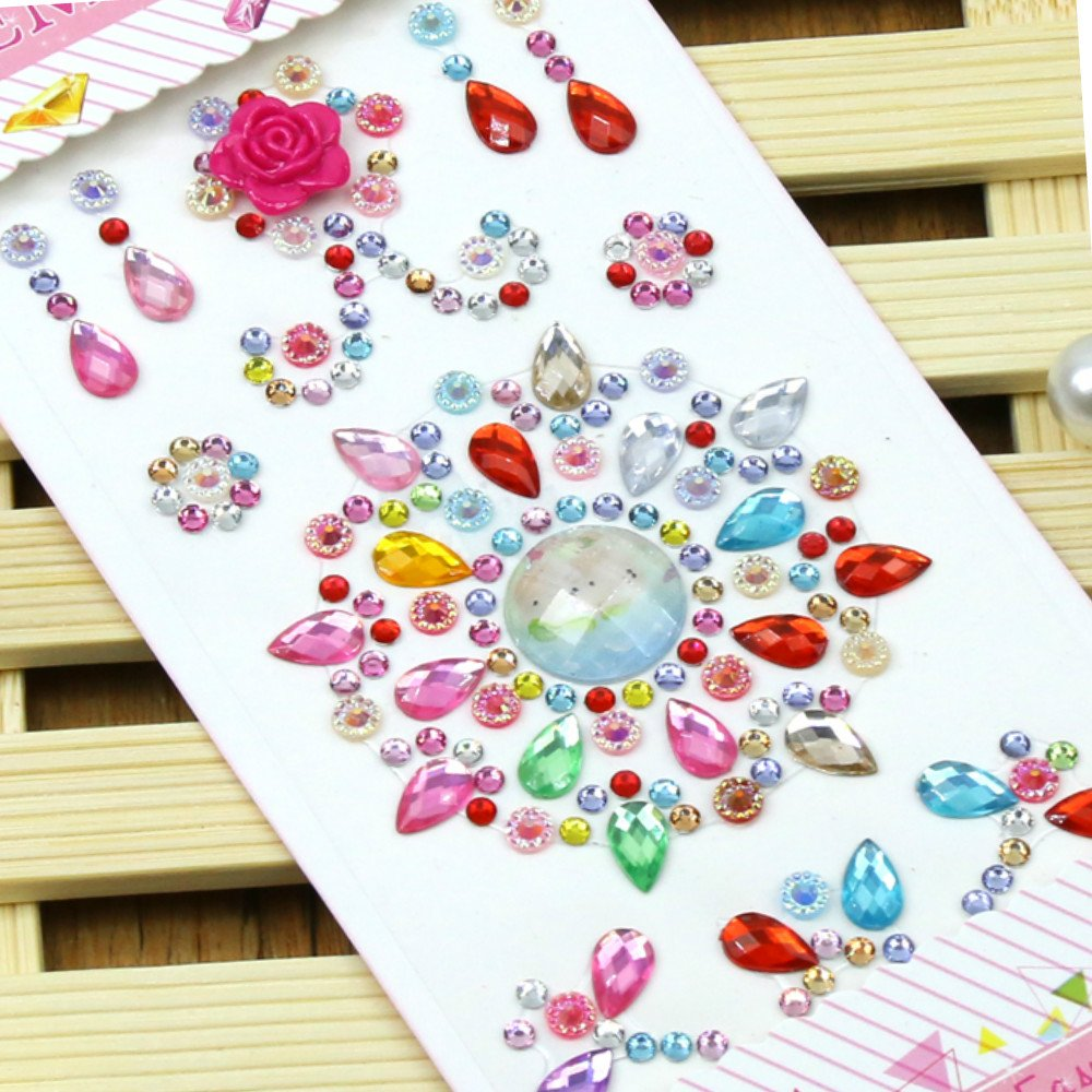 1480 Pieces Self-adhesive Craft Jewels, Morkia 8 Sheets Self-adhesive Rhinestone Stickers Stick-on Crystal Gem Sheets for DIY Crafts Decoration, Assorted Colors, Square, Round and Heart Shaped