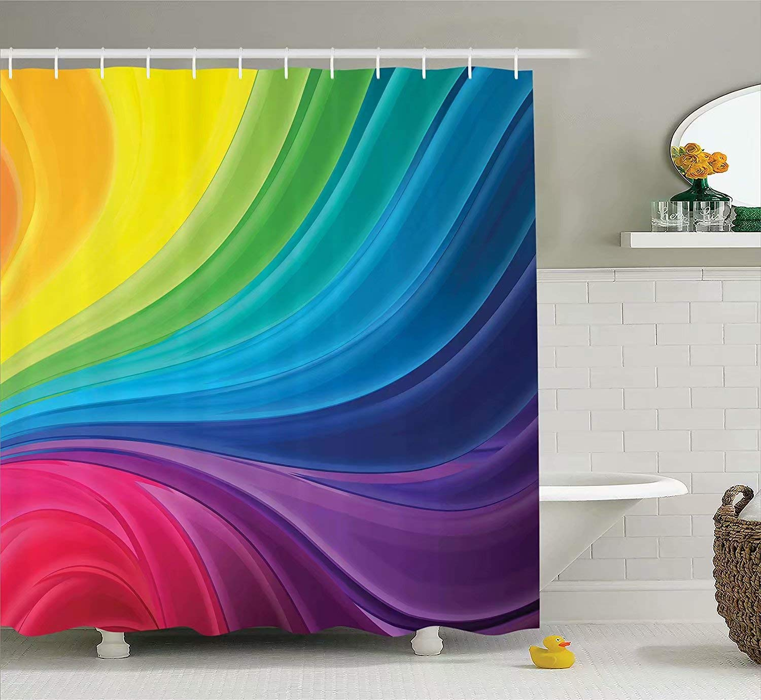 KANATSIU Abstract Smooth Rainbow Curvy Lines Pattern Spiral Wavy Light Spray Art Shower Curtain,with 12 Plactic Hooks,100% Made of Polyester,Mildew Resistant & Machine Washable,Width x Height is 60x72