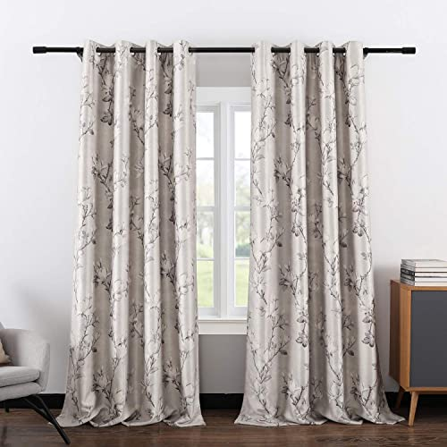 VOGOL Classic Magnolia Flower Printed Blackout Curtains Thermal Insulated