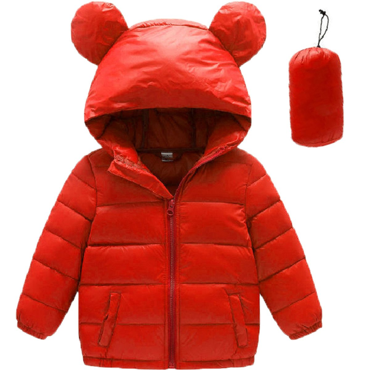 REWANGOING Little Grils Girls Lightweight Ear Hooded Puffer Coat Down Jackets YURONTJKO11L91