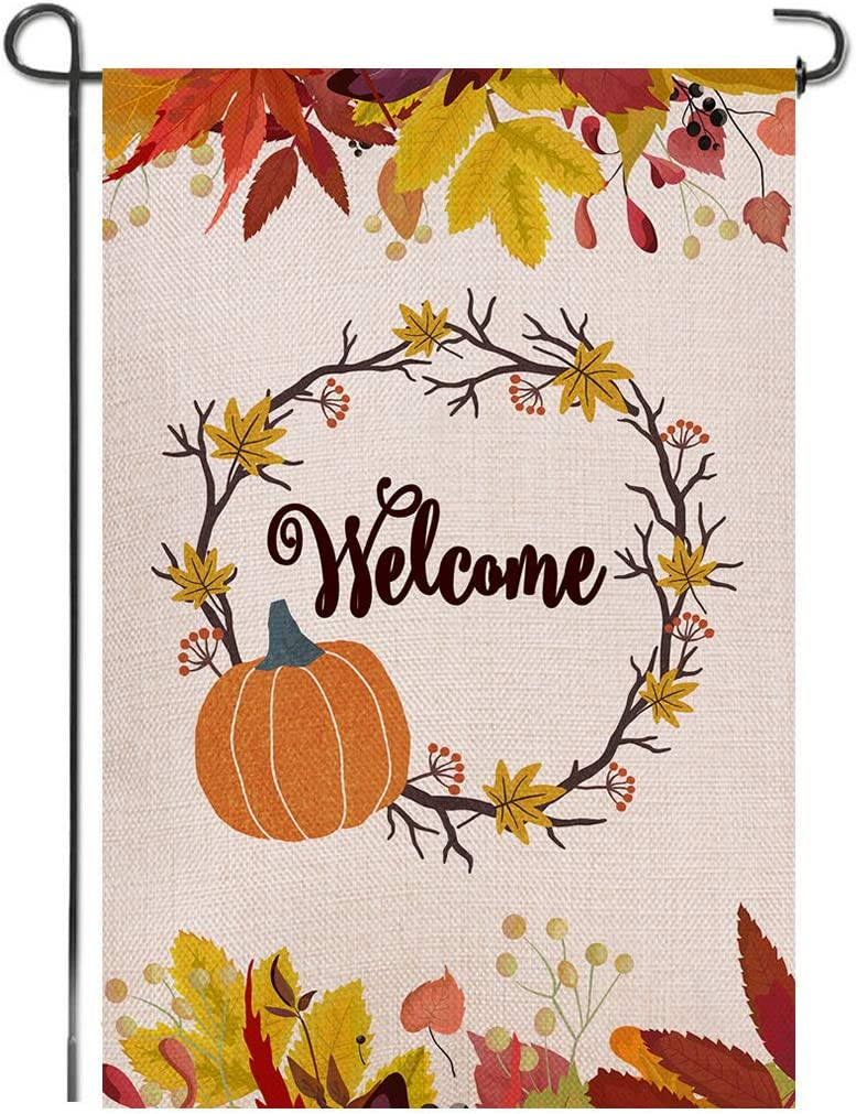 Shmbada Autumn Leaves Pumpkin Wreath Welcome Fall Thanksgiving Burlap Garden Flag, Double Sided Premium Material, Seasonal Outdoor Banner Decorative Small Flags for Home Yard Lawn, 12.5 x 18.5 Inch