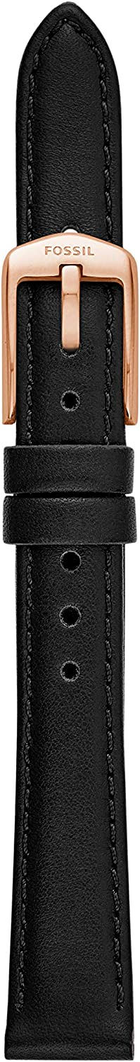 Fossil Leather and Stainless Steel Interchangeable Watch Band Strap Stitched Black