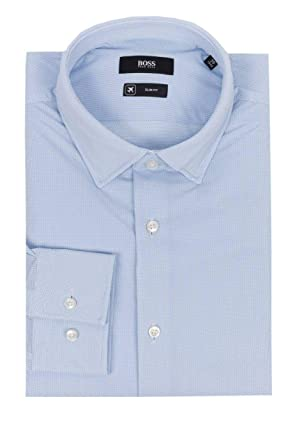 f193c3188 Amazon.com: Hugo Boss Jenno Slim Fit Performance Stretch Dress Shirt - LT.  Blue - 16: Clothing