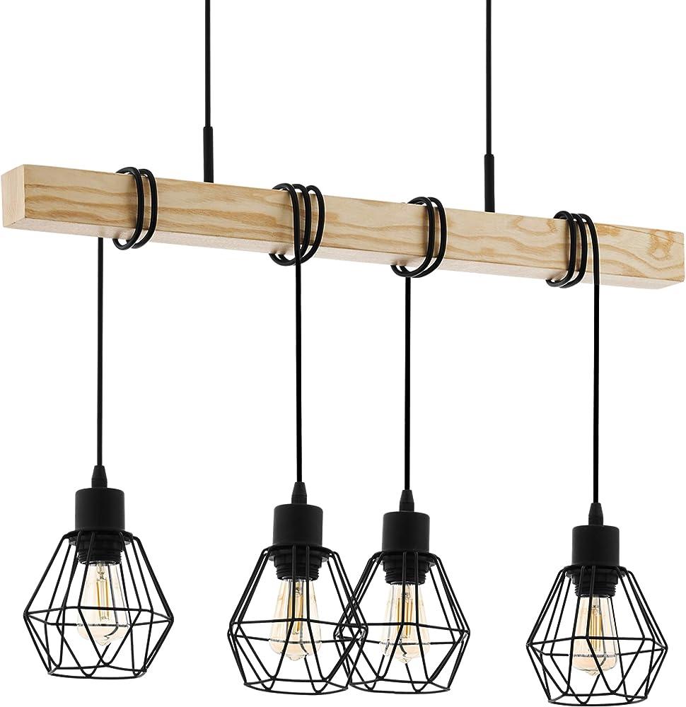 Eglo lampada a sospensione vintage townshend 5, 4 luci 43132