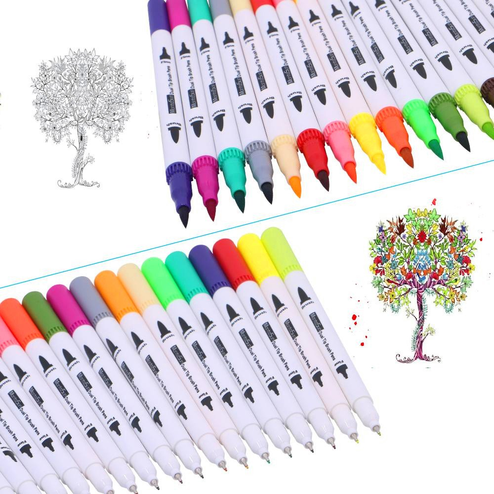 60 Dual Tip Brush Pens Art Markers,MontoSun Coloring Marker Pens Fine Liners and Brush Tip Colored Pen for Adult Drawing Sketching Painting by MontoSun (Image #5)