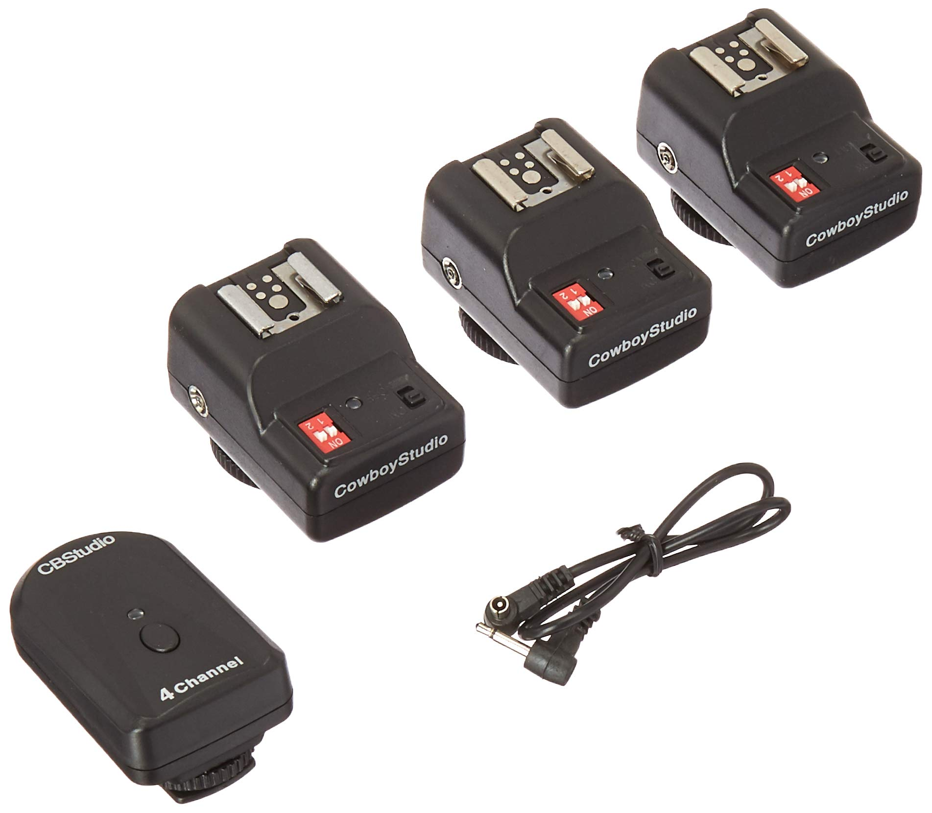CowboyStudio Channel Wireless Flash Trigger Set for External Speelights with 1 Trigger & 3 Receivers, Black (NPT-04+2xextra Receiver) by CowboyStudio