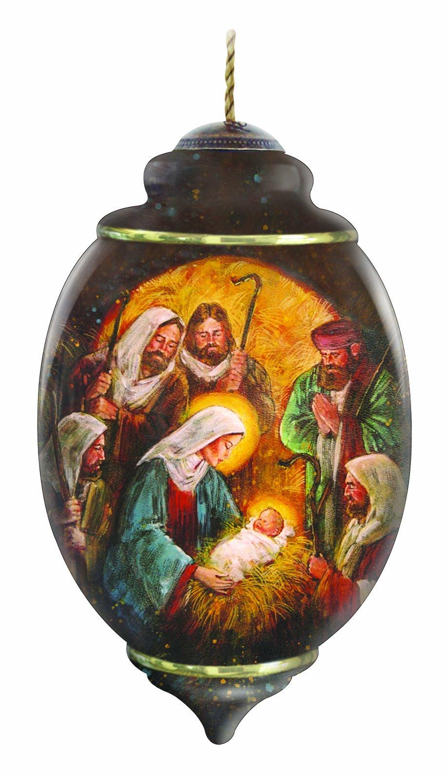 "Ne'Qwa Art, Christmas Gifts, ""Joy To The World"" Artist Stewart Sherwood, Trillion-Shaped Glass Ornament, #7131142"