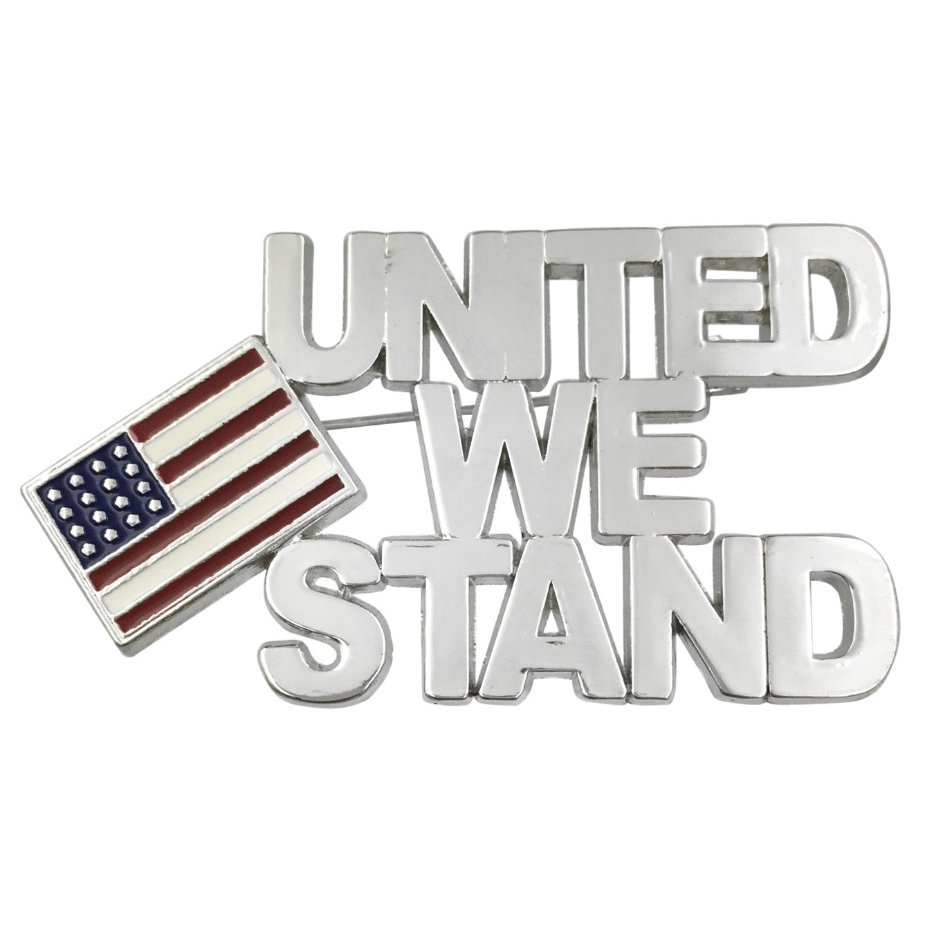 United We Stand USA Red White & Blue Flag Silver Tone Pin Brooch